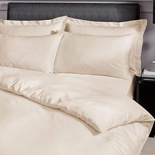Catherine Lansfield Hochwertiges, gestreiftes Satin-Bettlaken, cremefarben, Housewife Pillowcases