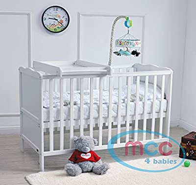 MCC Wooden Baby Cot Bed With Top Changer & Water repellent Mattress - low-cost UK light store.
