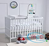 MCC Wooden Baby Cot Bed With Top Changer & Water repellent Mattress