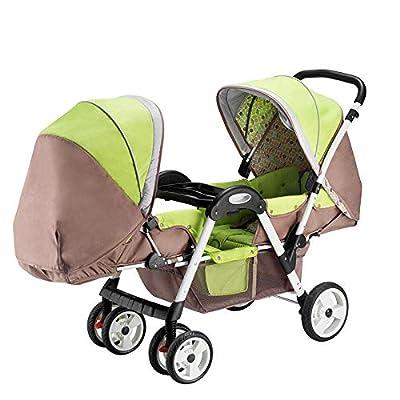 Gemelos Cochecito De Bebé Asiento Doble Plegable Sistema De Viaje Ligero Sillón Alto Paisaje Adecuado para Edades De 0 A 3 Años