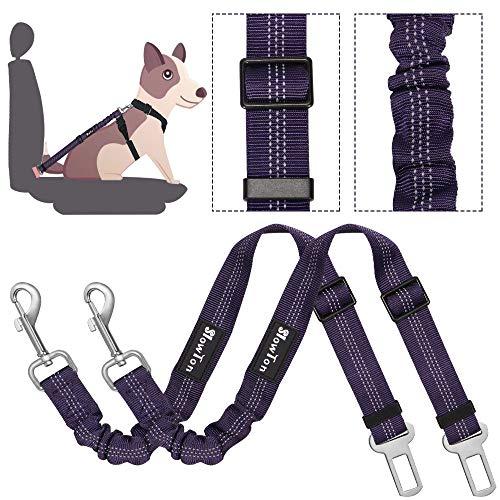 SlowTon Double Dog Sicherheitsgurt, Doppelhaustier-Sicherheitsgurt Verstellbarer mit elastischem Bungee und reflektierendem Streifen Keine Verwicklung Sicherheitsgurt-Splitter im Fahrzeug