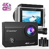 Action Kamera 4K CROSSTOUR Unterwasserkamera Wi-Fi wasserdicht Sports Cam Ultra Full HD 2' LCD 170°Ultra Weitwinkel 30M Helmkamera mit 2 Batterien und kostenlose Accessoires