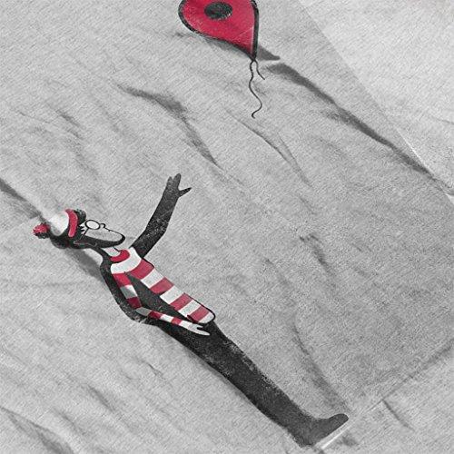 Never Found Wheres Wally Balloon Banksy Womens Sweatshirt Heather Grey