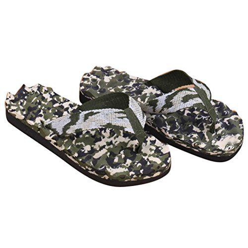 UFACE Herren Camo Flip Flops Sandalen Männer Sommer Camouflage Flip Flops Schuhe Sandalen (41, Grün)