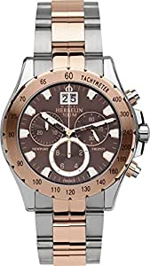 Michel Herbelin Newport Trophy Men's Quartz Watch with Brown Dial Chronograph Display and Two Tone Stainless Steel Rose Gold Plated Bracelet 36670/BTR48