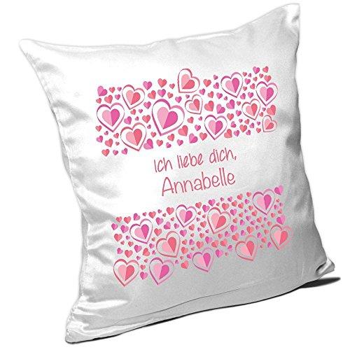 Kissen mit Namen Annabelle und schönem Motiv mit rosa Herzen zum Valentinstag - Namenskissen - Kuschelkissen - Schmusekissen -