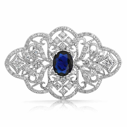 Bling Jewelry Color Azul Zafiro CZ Oval Estilo Victoriano Broche FlorP