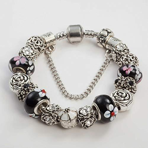KYHMSL Hochwertige Perlen Für Schmuckherstellung Schwarz Strass Bettelarmband Blume Glasperlen Wonder Bangle for Women (Seil Wonder Woman)