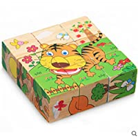 Wooden Animal Puzzles,Buyby Kids Wooden 9 Pieces Of Six-Sided Three-Dimensional Puzzle Functional Baby Toys
