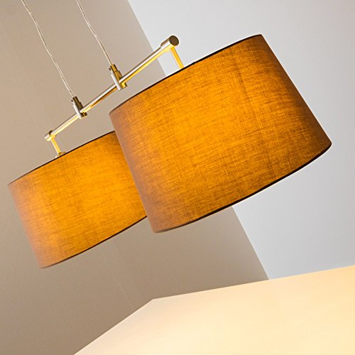 Pendelleuchte aus Stoff  – 2-flammige Zimmerlampe Höhenverstellbar, Farbe Cappuccino - 8
