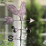 Uemaker Retro Hahn Wetterfahne Metall Eisen Windgeschwindigkeit Drehrichtung Richtungsanzeiger für Garten Dekoration Terrasse Garten 120cm