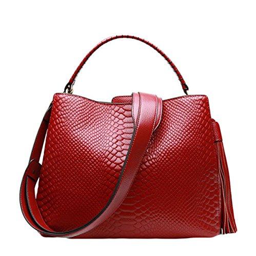 Preisvergleich Produktbild Europa Und Die Vereinigten Staaten Wind Leder Damen Tasche Große Kapazität Handtasche Schultertasche Messenger Bag, Red-OneSize