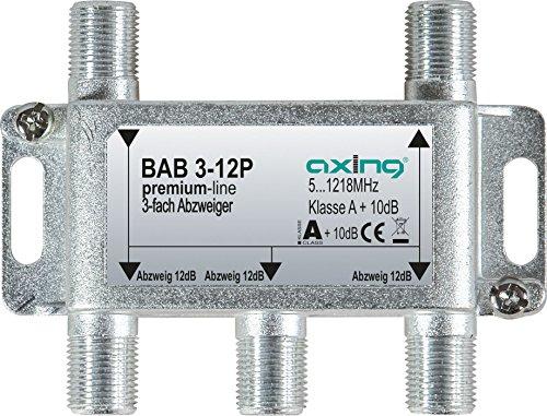 Axing BAB 3-12P 3-fach Abzweiger 12dB Kabelfernsehen CATV Multimedia DVB-T2 Klasse A+, 10dB, 5-1218 MHz metall