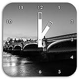 schöne Westminster Bridge und Big Ben schwarz/weiß, Wanduhr Quadratisch Durchmesser 28cm mit weißen eckigen Zeigern und Ziffernblatt, Dekoartikel, Designuhr, Aluverbund sehr schön für Wohnzimmer, Kinderzimmer, Arbeitszimmer