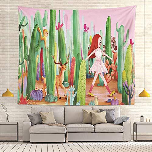 jtxqe Moda Europa e Stati Uniti arazzo Caldo Appeso a Parete Panno Appeso arazzo Decorativo Cactus arazzo Telo Mare Cuscino R005-Q 130 * 150 cm