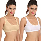 #8: Sona Sports Bra For Gym & Yoga Sport Top Skin & White Cotton Non-Padded Sports Bra (pack of 2)