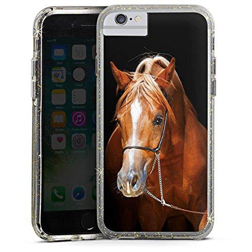 Apple iPhone 6s Plus Bumper Hülle Bumper Case Glitzer Hülle Pferd Horse Stute Hengst Bumper Case Glitzer gold