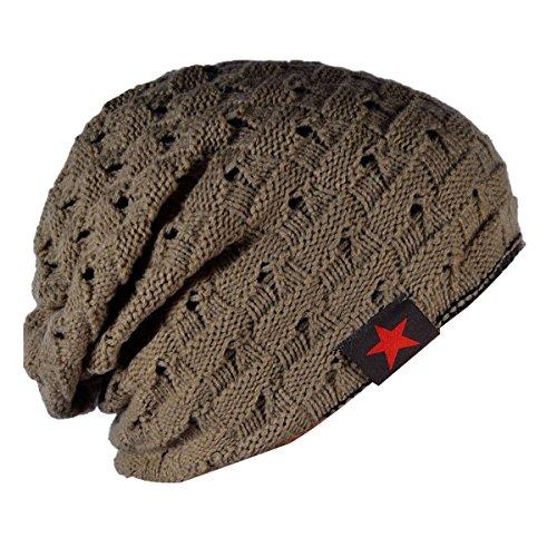 THENICE Bonnet tricoté Homme Reversible Beanie Hat Adulte Kaki