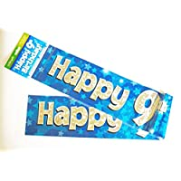 Happy 9th Birthday Banner Age Boy Blue Holographic Wall Kids Party Decorations