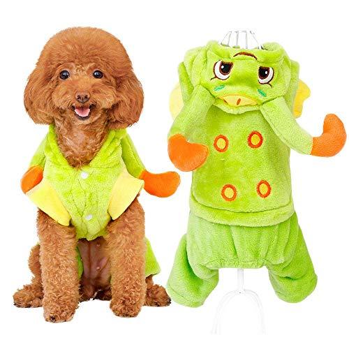 NKLD Haustier/Katze Kleidung Kostüm Kleidung, Dress up Katze/Hund Kostüme, Haustier Cosplay grün Raupe Hoodies Mantel, Herbst Winter warme Haustier-Kleidung für Urlaub Geburtstag Party Jahr-X-Large