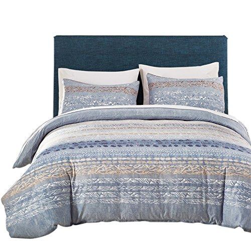 Baumwolle Streifen-kissen-sham (KAYI geometrische Muster Print Bettwäsche Set, 1 Bettbezug + Kissen Sham Paare)