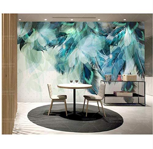 Tapete 3D Tapete Mode Retro Modern Amerikanisch Blau Licht Schatten Feder Tv Hintergrund Wand 300 Cm × 200 Cm