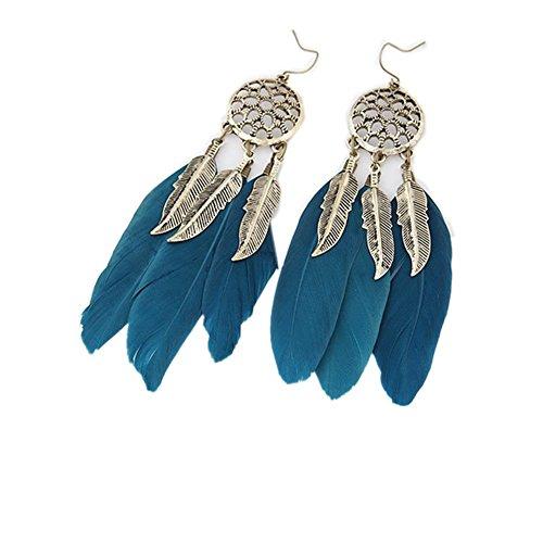 iTemer. 1 Pieza Moda Creativa atrapasueños Plumas Borla Pendientes señoras aleación Colgante de joyería Azul 10cm*2cm
