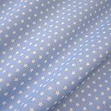 Stoff Meterware Baumwolle Baumwollstoff Sterne hellblau weiß