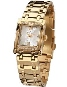 Reloj Yves Camani Calais silbernes Ziffernblatt YC1027-B de cuarzo para mujer, correa de acero inoxidable chapado color dorado de Yves Camani