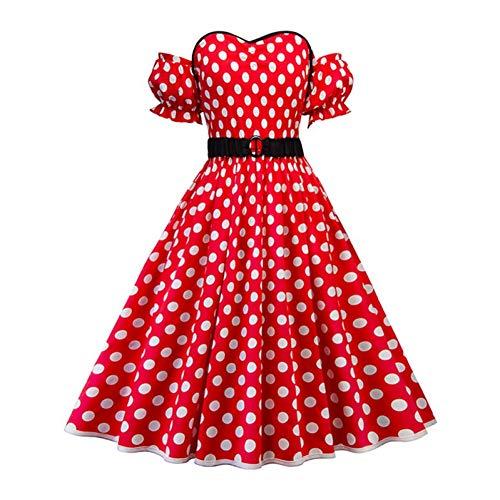 JJHR Kleider Plus Size Polka Dot Kleid Frauen Schulterfrei A-Line Party Kleider Rockabilly Pin Up Kleider Casual Dress (Plus Size Kleider Dot Polka)