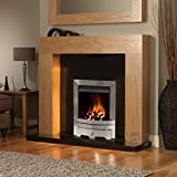 "Gas Oak Surround Black Granite Stainless Steel Silver Coal Flame Fire Modern Fireplace Suite - 48"" - UK Mainland Only"