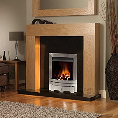 "Gas Oak Surround Black Granite Stone Brushed Steel Silver Coal Flame Fire Modern Fireplace Suite - Large 54"" - UK Mainland Only"