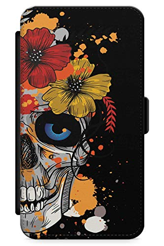 (iPhone 7 Plus, iPhone 8 Plus Case Zuckerschädel-Blumen | Kunstleder Brieftasche Flip Card Slot Cover Kickstand | Tag Der Toten Dia De Muertos Mexikaner Kunst Kostüm)