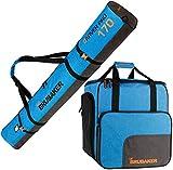 Brubaker Kombi Set Carver Performance - Skisack und Skischuhtasche für 1 Paar Ski + Stöcke + Schuhe + Helm - Blau meliert Schwarz - 170 cm