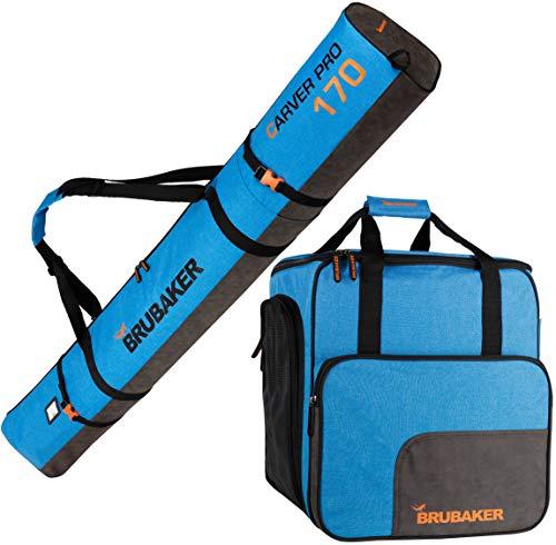 Brubaker Kombi Set Carver Performance - Skisack und Skischuhtasche für 1 Paar Ski + Stöcke + Schuhe + Helm - Blau meliert Schwarz - 170 cm -