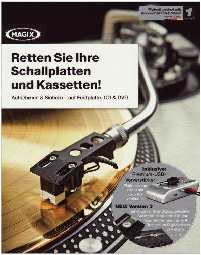 Magix Retten Sie Ihre Schallplatten und Kassetten!, Version 3, 1 CD-ROM Aufnehmen und Sichern - auf Festplatte, CD & DVD. Für Windows XP/Vista/7. Inklusive Premium-USB-Vorverstärker. Plattenspieler direkt mit dem PC verbinden -