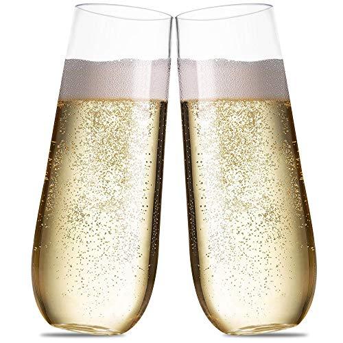 Champagnerflöten aus Kunststoff, für Partys, 228 ml, 30 Stück Unzerbrechliche Stielgläser für Cocktail, Wein
