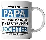 vanVerden Tasse Stolzer Papa einer wahnsinnig fantastische Tochter inkl. Geschenkkarte, Farbe:Weiß/Blau