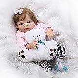 QXMEI Baby-Puppe Weich Simulation Silikon 22 Zoll 57 cm Magnetisch Mund Lebensechte Mädchen
