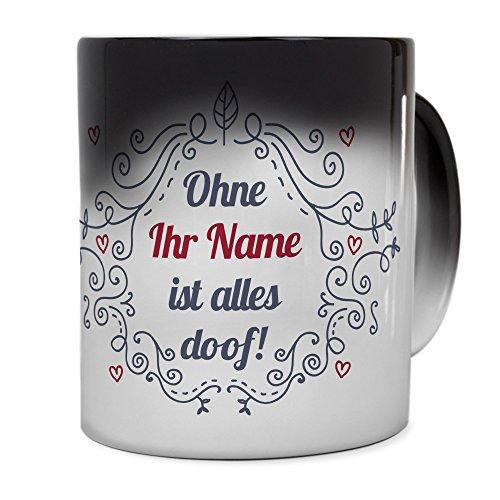 PrintPlanet Zaubertasse mit Namen personalisiert - Magic Mug - Motiv Ornamente individuell gestalten...