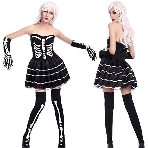 Averyshowya Kleidung für Erwachsene Kostüm für Erwachsene Skelett Kostüm Zombie Kostüm Fräulein Skelett Schwarzes Kleid Halloween Party Kostüm Adult Ghost Kostüm (Zombie Skelett Kostüm)