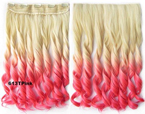 Meiya 61 cm 130 g OMBRE DIP DYE Mesdames New Fashion longue ondulée synthétique sur les cheveux Extension de cheveux à clips Tête complète pour cosplay ou de Noël