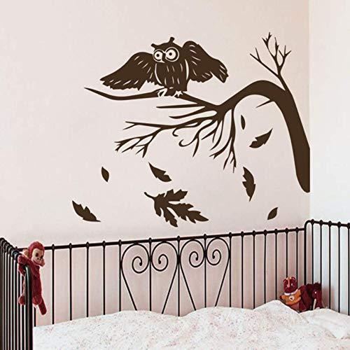 cptbtptp Eule Vogel Auf Baum Wandtattoos Baby Kinderzimmer Ungiftige Aufkleber Kunst Wohnwand wasserdichte Tapete DIY Aufkleber 51x42 cm