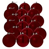 Hiskøl Christbaumkugeln rot, glänzend matt glitzernd, Ø 6 cm, 18er Pack