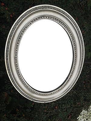 Spiegel Wandspiegel Badspiegel Kosmetikspiegel Oval Silber Antik Stil H 49 cm von Dekowonderland - Spiegel Online Shop