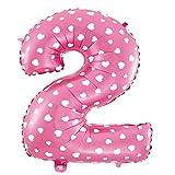 Cotigo-Globo número Blanco Corazón cumpleaños de 70cm rosa 2