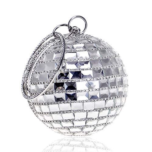 Yoome Damen Clutch Ballform Strass Glas Diamant Party Clutch Abendtasche mit Kette Band