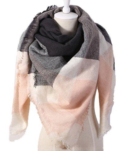 Minetom Donna Sciarpa Inverno Di Grandi Scialle Maglione Cappotto Girl Grandi Tartan Wrap Maglia Scialle Scarves Pink Nero One size