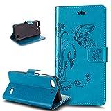 Huawei G Play mini Hülle,Huawei Honor 4C Hülle,Prägung Groß Schmetterling Blumen Muster PU Lederhülle Flip Hülle Cover Ständer Etui Wallet Tasche Schutzhülle für für Huawei G Play mini/Honor 4C,Blau