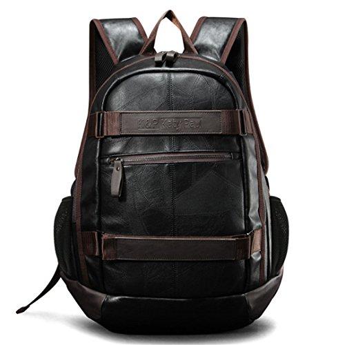 Wewod Mochila para Ordenador Portatil 15.6 Pulgadas,Mochilas Escolares PU Cuero ,Mochilas Negocios,Retro Backpack